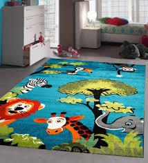 blue nursery rug soft baby bedroom carpet children play room mat jungle animals 120x170cm