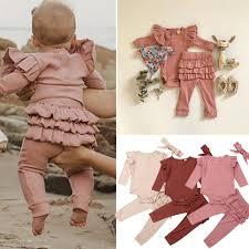 Details About Uk Newborn Baby Girl Clothes Romper Bodysuit Ruffle Pants Leggings Outfits 3pcs