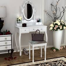 wooden dressing table white pine makeup desk with stool oval mirror 5 drawers hot