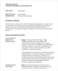 hospital housekeeper job description housekeeping job duties