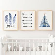 boys blue boho tribal nursery or bedroom wall art print set personalised  on wall art prints for bedroom with boys boho wall art nursery bedroom prints the kids print store