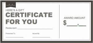 Restaurant Gift Certificate Template Word Magdalene