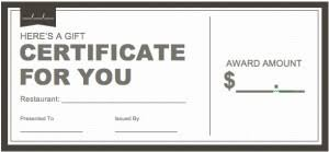 restaurant gift certificate templates wiki