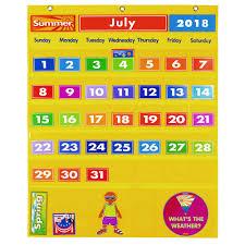 Yellow Calendar Pocket Chart Amazon Com Excellerations Classroom Preschool Calendar