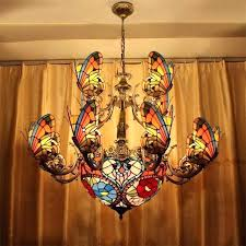 stained glass light fixtures creative led pendant chandelier lamp living room shade patterns full size
