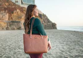 large brown leather tote for las