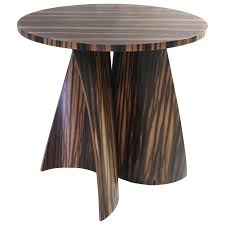 andino custom bentwood round side table in macassar ebony from costantini for