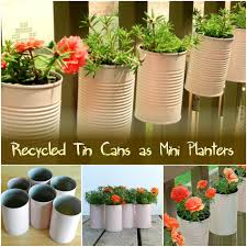 Recycled Tin Cans as Mini Planters