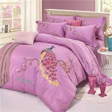 embroidery pea and flowers light purple 4 piece cotton sateen bedding sets duvet cover