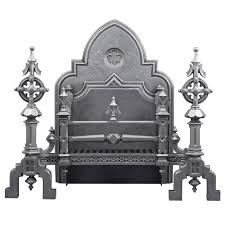 huge ornate antique english gothic revival cast iron fireplace grate 1