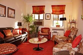 red area rug with brown sofa set for incrediable living room decorating ideas