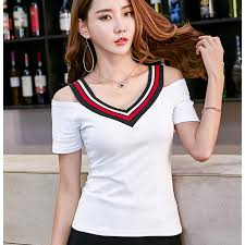 Sexy V Neck T Shirt Women <b>2019 Summer Korean</b> Fashion T shirt ...