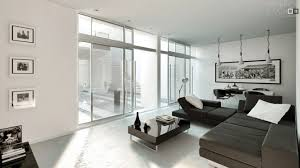 brown white living room modern style architectural glass sliding door