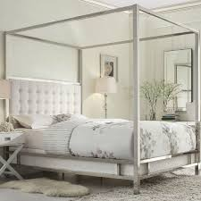 Queen Size Metal Canopy Bed with White from Hearts Attic | Quick