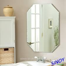 Bathroom Frameless Mirrors Bathroom Pivoting Frameless Bathroom Mirrors In Brushed Nickel
