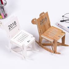 calendar office 2018 creative wooden horse diy chair style mini table calendars desk