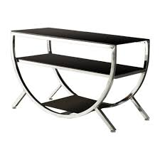 kings brand furniture chrome and black glass modern tv stand 010e the home depot