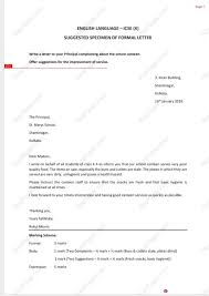 How To Format A Formal Letter Format Of Formal Letter Icse Boards For 2019 Complete And