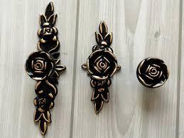 Shabby Chic Dresser Drawer Knobs Pulls Handles Black Gold Rose