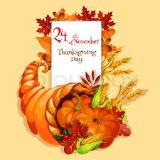 Thanksgiving Greeting Card Cornucopia Stock Vector Colourbox