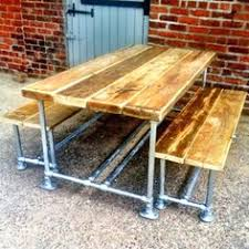 industrial mill style reclaimed scaffold garden set dining table with benchgarden setsgarden furnituredining roomdining