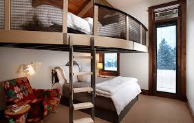 custom bunk bed designs. Perfect Designs Impressive Bunk Bed With Railing Also Ladder Plus Chic Arm Chair On Custom Designs