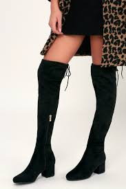 Chic Black Boots - Vegan Suede Boots - <b>Over-the-Knee Boots</b>