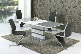 details about small extending grey glass high gloss dining table and 4 chairs set high gloss