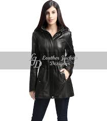 slim fit women leather coat with hood front