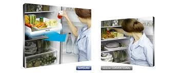 samsung fridge freezer. the easy slide shelf is built on rolling hinges, and pulls out so you can efficiently organise easily access your food items\u2014and readily see just what samsung fridge freezer