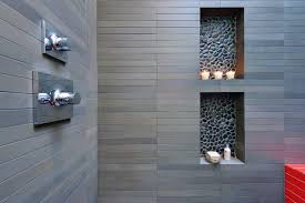 bathroom niches: contrasting tile niches and a touch of color modern