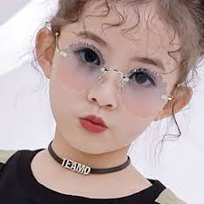 <b>Flower Wave Round Sunglasses</b> For Boys Girls Children Rimless ...