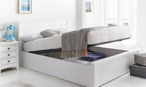 storage bed white double bed frame with storage white wooden double