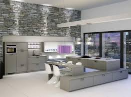 Small Picture elegant gray kitchen interior with stone wall kitchen ideas