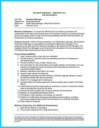 Sample Resume Of Store Manager Store Manager Job Descriptionume Crafting Great Assistant