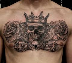 Skull With Crown Tattoo Roses Tattoo Chest Piece Chest Tattoo