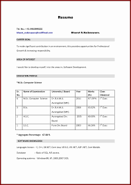 Download Sample Resume For Freshers In Word Format New Sc