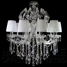 maria theresa 10 lights chandelier venetian glass asfour crystal and organza lampshades