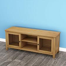 large 120cm modern oak tv unit wooden tv stand cabinet 2 glass doors display uk 7