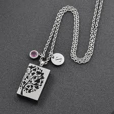 snless steel cremation jewelry diy necklace men tree of life shape ashes urn diy