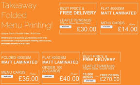 B4 And A4 Takeaway Menus Folded Leaflets Menus And Same Day