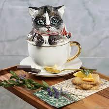 "Заварочная фарфоровая <b>чашка</b> с блюдцем ""<b>Котёнок в</b> чашке ..."