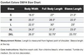 Comfort Colors Size Chart Comfort Colors Size Chart Mens