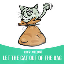 "let the cat out of the bag"" means ""to reveal a secret or a  ""let the cat out of the bag"" means ""to reveal a secret or"