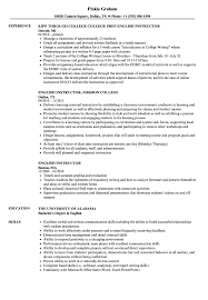 English Resume Sample English Instructor Resume Samples Velvet Jobs 11