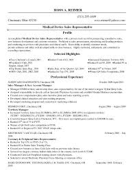 Sales Medical Device Resume Sample For Represent Cmerge