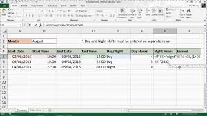 How To Use Excel As A Timesheet Excel Timesheet With Different Rates For Shift Work