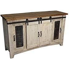 burlesonhomefurnishings anton distressed white sliding barn door farmhouse 60 inch tv stand with brown wood top and hand forged custom handles