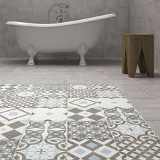 Patterned Bathroom Floor Tiles Classy Shop The Vibe Light Blue Patterned Wall And Floor Tiles 48 X
