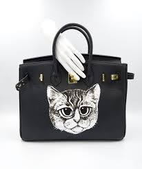 timbee lo x aso designer hand painted cat pattern suede leather handbag bag designer timbeelo handbags totes i